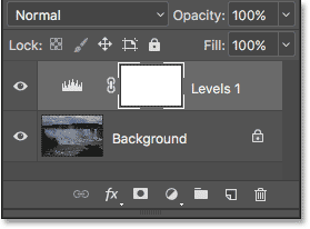 The Layers panel showing the Levels adjustment layer above the Background layer. Image © 2017 Photoshop Essentials.com