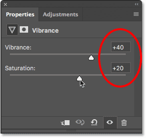 Boosting color saturation with the Vibrance adjustment sliders.
