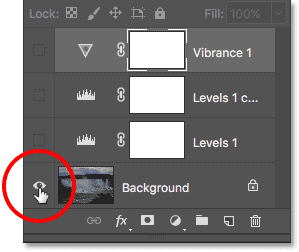 Again holding Alt (Win) / Option (Mac) while clicking the Background layer's visibility icon. Image © 2017 Photoshop Essentials.com