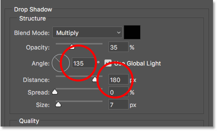 The Angle and Distance values for the drop shadow. Image © 2016 Photoshop Essentials.com