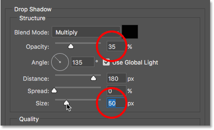 The Size and Opacity values for the drop shadow. Image © 2016 Photoshop Essentials.com