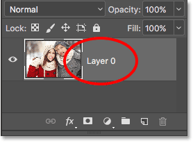 The Background layer is now a normal layer named Layer 0. Image © 2016 Photoshop Essentials.com