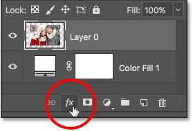 Clicking the Layer Styles icon. Image © 2016 Photoshop Essentials.com