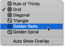 Selecting the Golden Ratio overlay. Image © 2016 Photoshop Essentials.com