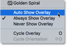 The Auto Show Overlay, Always Show Overlay and Never Show Overlay options. Image © 2016 Photoshop Essentials.com
