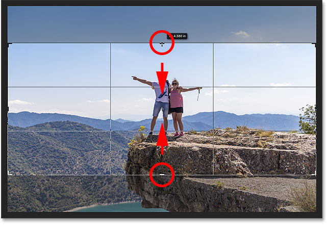 Hold Alt (Win) / Option (Mac) to adjust the height from the center of the crop border.
