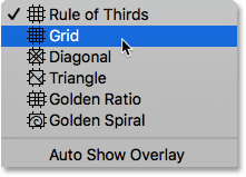 Selecting the Grid overlay for the Crop Tool. Image © 2016 Photoshop Essentials.com