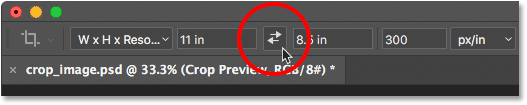 Clicking the arrows to swap the Width and Height values. Image © 2016 Photoshop Essentials.com