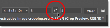 Clicking the arrows to change the orientation of the crop. Image © 2016 Photoshop Essentials.com