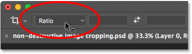 Clicking the Aspect Ratio option in the Options Bar. Image © 2016 Photoshop Essentials.com