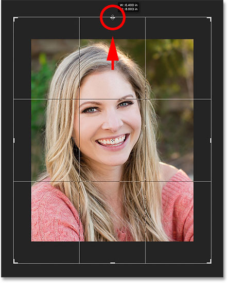 Resizing the crop border again, this time making it larger. Image © 2016 Photoshop Essentials.com