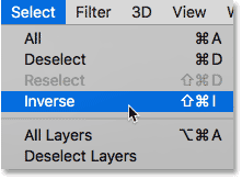 Choosing Inverse from the Select menu in Photoshop.
