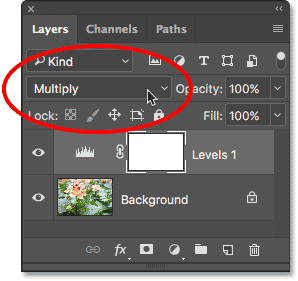 Changing the blend mode of the adjustment layer to Multiply.