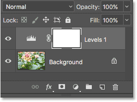 The Layers panel showing the adjustment layer above the image. Image © 2017 Photoshop Essentials.com