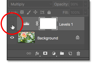 Turning the adjustment layer back on in the document. Image © 2017 Photoshop Essentials.com