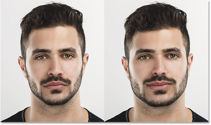A before and after comparison of Face-Aware Liquify. Image © 2016 Steve Patterson, Photoshop Essentials.com