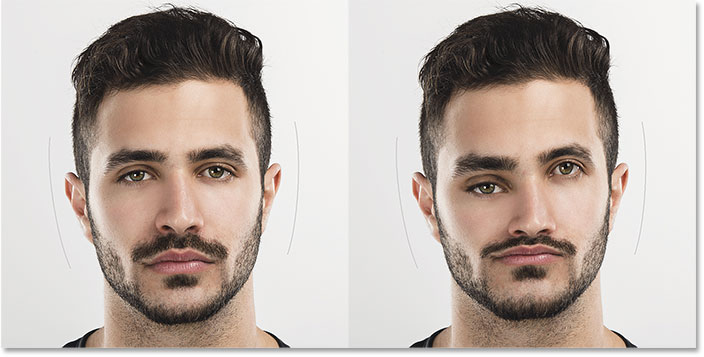 A before and after comparison of the Face Tool. Image © 2016 Steve Patterson, Photoshop Essentials.com