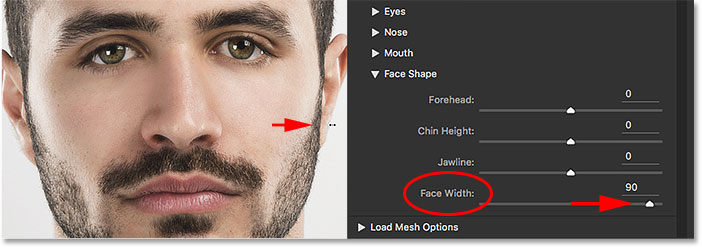 Dragging the Face Width handle moves the Face Width slider. Image © 2016 Steve Patterson, Photoshop Essentials.com