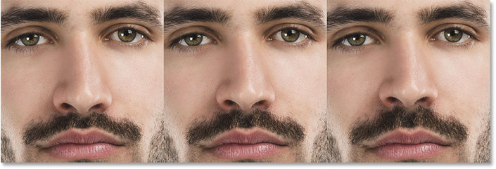 A comparison of the Nose Height slider in Face-Aware Liquify. Image © 2016 Steve Patterson, Photoshop Essentials.com