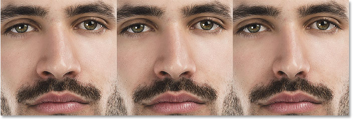 A comparison of the Nose Width slider in Face-Aware Liquify. Image © 2016 Steve Patterson, Photoshop Essentials.com