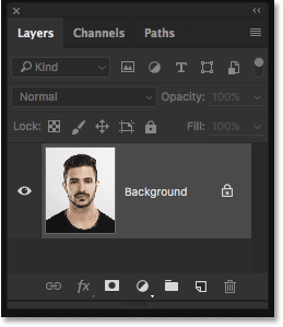 The Layers panel showing the photo on the Background layer. Image © 2016 Steve Patterson, Photoshop Essentials.com