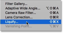 Choosing the Liquify filter under the Filter menu. Image © 2016 Steve Patterson, Photoshop Essentials.com