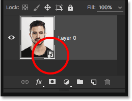 The layer preview thumbnail showing the Smart Object icon. Image © 2016 Steve Patterson, Photoshop Essentials.com