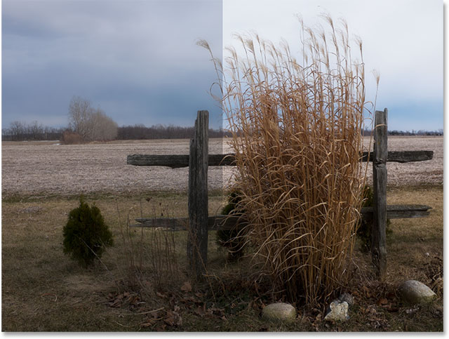 A before and after comparison of the image. Image © 2015 Steve Patterson, Photoshop Essentials.com