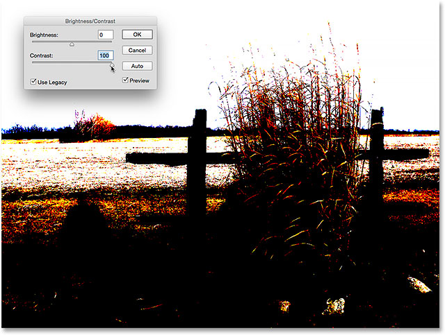 The image with contrast set to max and Use Legacy on. Image © 2015 Steve Patterson, Photoshop Essentials.com