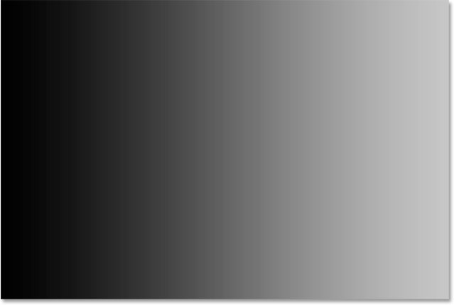 After setting a new black point, the left side of the gradient is now black. Image © 2015 Steve Patterson, Photoshop Essentials.com