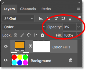 Lowering the opacity of the fill layer to 0 percent. Image © 2017 Photoshop Essentials.com