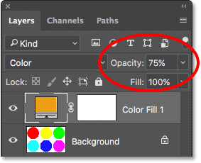 Increasing the fill layer's opacity to 75 percent. Image © 2017 Photoshop Essentials.com