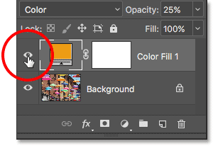 Toggle the fill layer on and off by clicking its visibility icon. Image © 2017 Photoshop Essentials.com