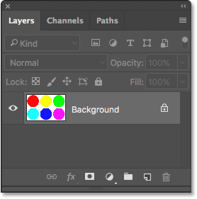 The Layers panel showing the image on the Background layer. Image © 2017 Photoshop Essentials.com