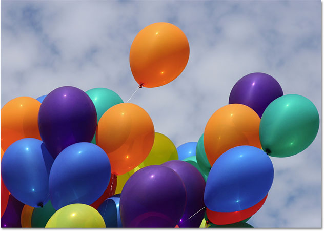 A photo of balloons. Image licensed from iStockphoto by Photoshop Essentials.com