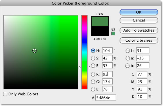 Photoshop Color Picker. Image © 2010 Photoshop Essentials.com
