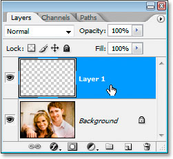 Create a new layer above the Background layer