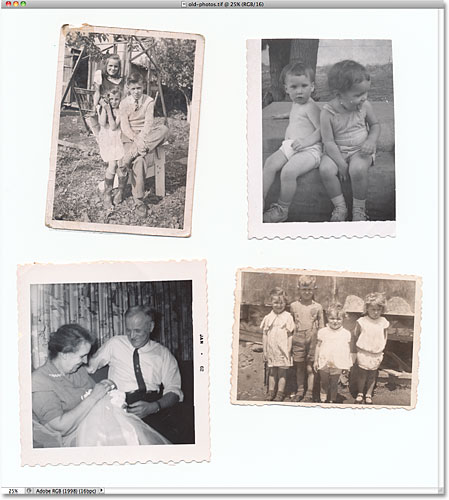 Four old photos scanned at once. Image © 2010 Photoshop Essentials.com.