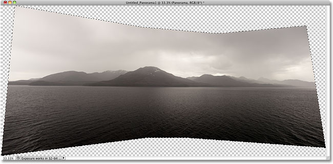 A selection outline appears around the panoramic image. Image © 2010 Steve Patterson, Photoshop Essentials.com