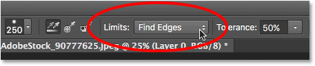 Changing the Limits option for the Background Eraser to Find Edges. Image © 2016 Photoshop Essentials.com