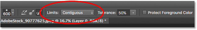 The Limits option for the Background Eraser in the Options Bar. Image © 2016 Photoshop Essentials.com
