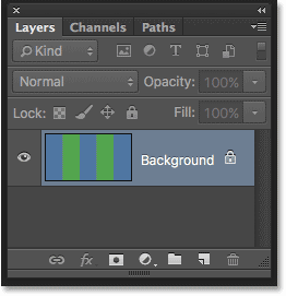 The Layers panel showing the image on the Background layer. Image © 2016 Photoshop Essentials.com