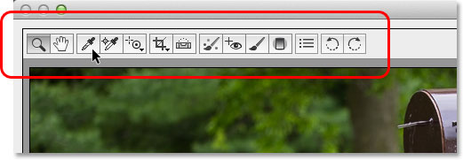 The Toolbar in the Camera Raw dialog box. Image © 2013 Photoshop Essentials.com