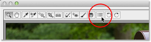 Clicking the Preferences icon. Image © 2013 Photoshop Essentials.com