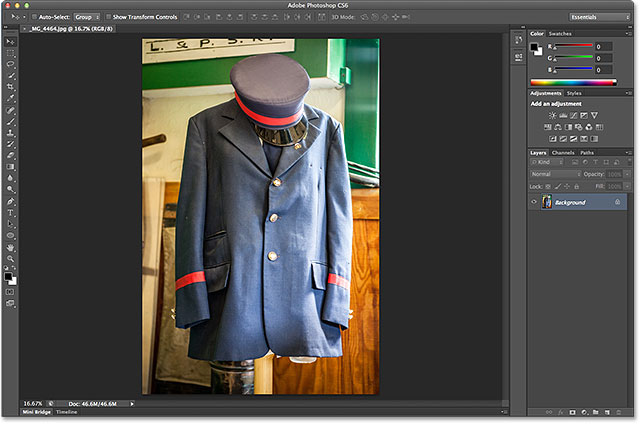A JPEG image open in Photoshop CS6. Image © 2013 Steve Patterson, Photoshop Essentials.com