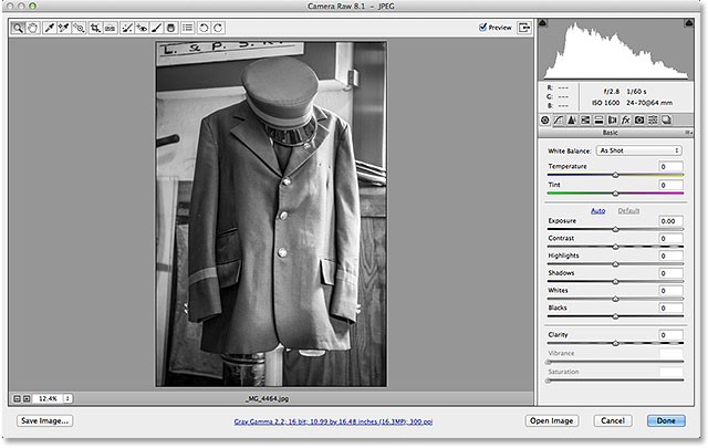 The JPEG image now opens in Camera Raw. Image © 2013 Steve Patterson, Photoshop Essentials.com