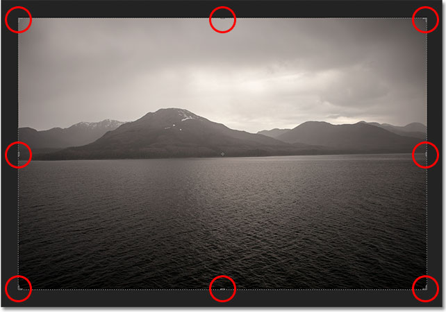 Photoshop CS6 automatically places a crop box and handles around the image. Image &copy; 2012 Photoshop Essentials.com