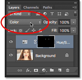Changing the blend mode of the adjustment layer to Color.