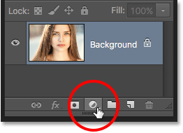 Clicking the New Fill or Adjustment Layer icon in the Layers panel. Photoshop.