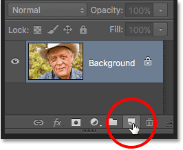 Clicking the New Layer icon in the Layers panel. Image © 2016 Photoshop Essentials.com